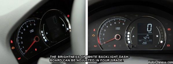 The brightness of white backlight dashboard can be adjusted in four grade. Traffic information display provides digital display, such as speed, temperature, mileage, etc.
