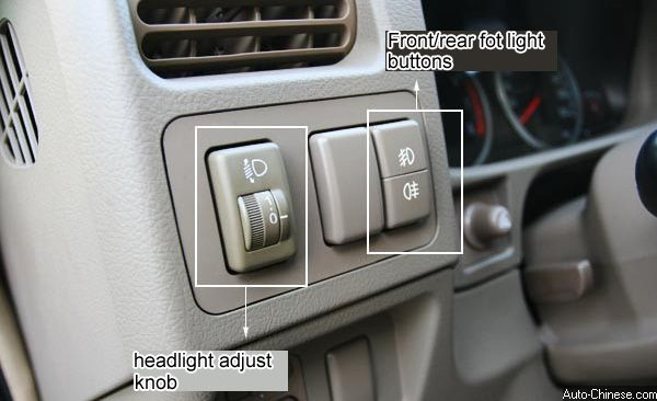 Hover SUV (X240) Fog light and headlight adjust buttons