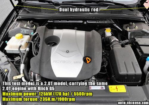 This test model is a 2.0T model, carrying the same 2.0T engine with Riich G5