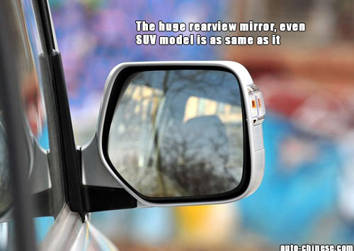 The huge rearview mirror, even SUV model is as same as it