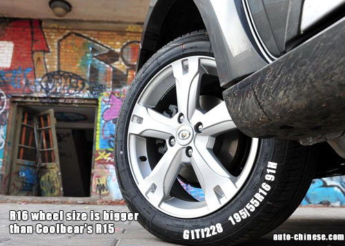 R16 wheel size is bigger than Coolbear's R15,