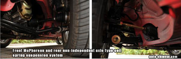 Benni Mini front McPherson and rear non-independent axle type coil spring suspension system