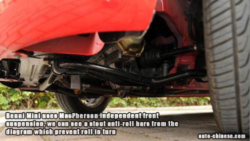 Benni Mini uses MacPherson independent front suspension, we can see a stout anti-roll bars from the diagram which prevent roll in turn