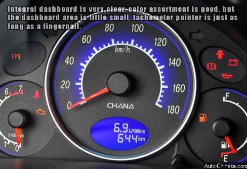 Integral dashboard is clear, color assortment is good, but the dashboard area is little small, tachometer pointer is just as long as a fingernail.