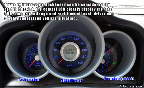 Three cylinder-style dashboard can be considered the highlight point, the central LCD display clearly the total ODO, sing trip mileage and real-time oil cost, driver can clearly understand vehicle situation