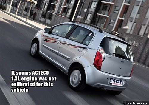 it seems ACTECO 1.3L engine was not calibrated for this vehicle