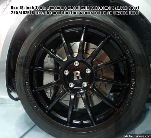 Use 18-inch Team Dynamics wheel with Yokohama's Advan sport 225/40ZR18 tire, the modification seems not to go beyond limit