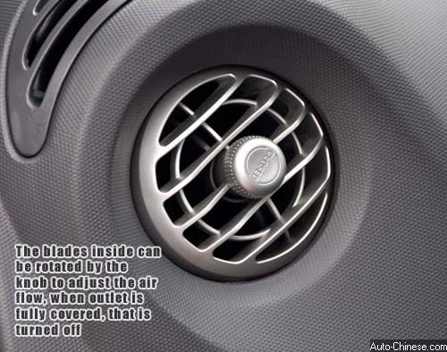The blades inside can be rotated by the knob to adjust the air flow, when outlet is fully covered, that is turned off