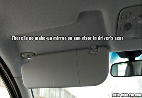 There is no make-up mirror on sun visor in driver's seat