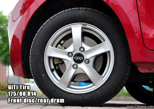 Riich M1 uses GiTi tires, front disc brakes and rear is drum, the tire size are 175/60 R14