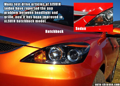 Many test drive articles of AlSVIN sedan have reported the gap problem between headlight and grille, now it has been improved in ALSVIN hatchback model.