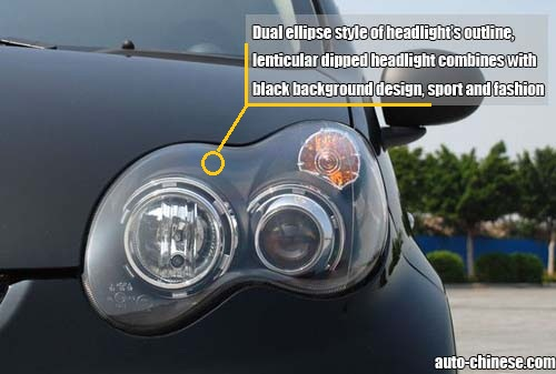 Dual ellipse style of headlight's outline, lenticular dipped headlight combines with black background design, sport and fashion