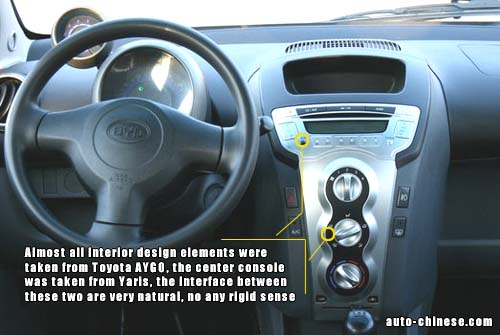 Almost all Interior design elements were taken from Toyota AYGO, the center console was taken from Yaris, the interface between these two are very natural, no any rigid sense