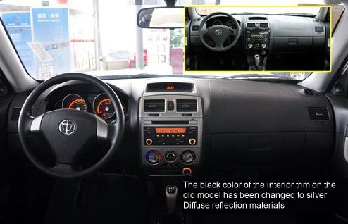 The black color of the interior trim on the old model has been changed to silver Diffuse reflection materials