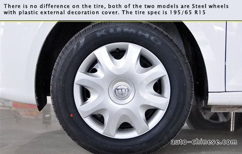 both of the two models are Steel wheels with plastic external decoration cover. The tire spec is 195/65 R15.