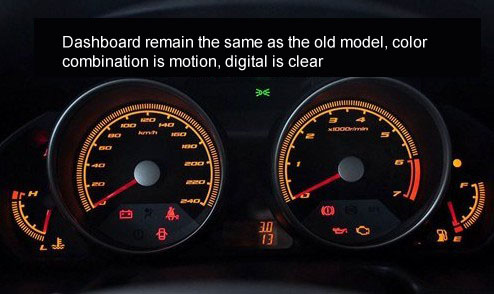 Dashboard remain the same as the old model, color combination is motion, digital is clear
