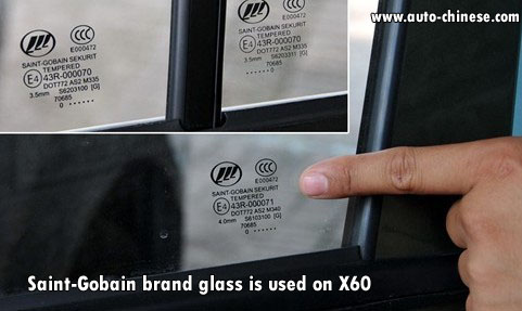 Saint-Gobain brand glass is used on X60
