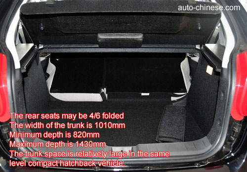 The rear seats may be 4/6 folded The width of the trunk is 1010mm Minimum depth is 820mm Maximum depth is 1430mm The trunk space is relatively large in the same level compact=